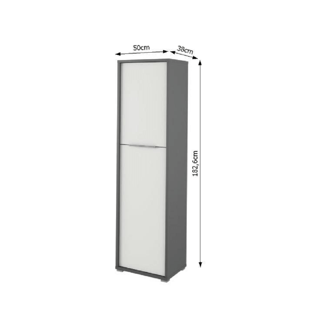 Polcos szekrény,grafit/fehér,RIOMA TYP 08
