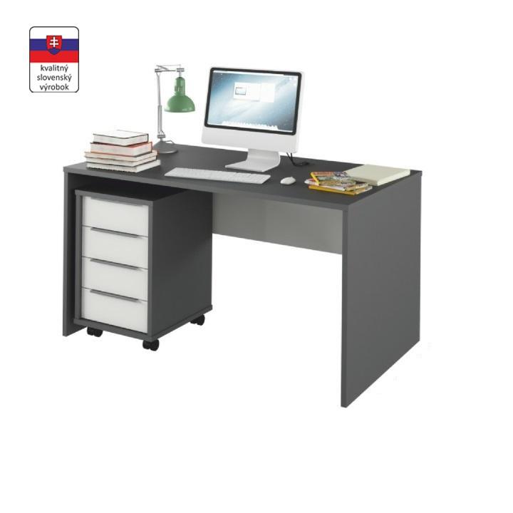 PC asztal, grafit/fehér, RIOMA TYP 11