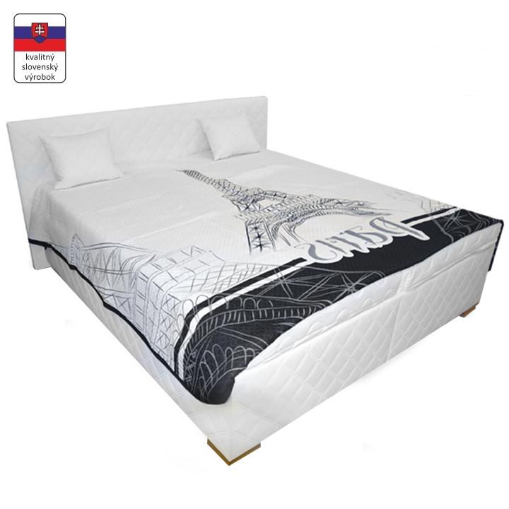 Manželská posteľ s úložným priestorom, biela, 160x200, VENEZIA LUX