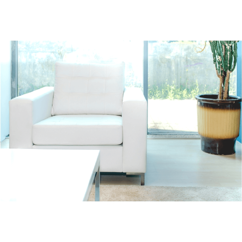 Kárpitozott fotel, textilbőr fehér, ORAGION