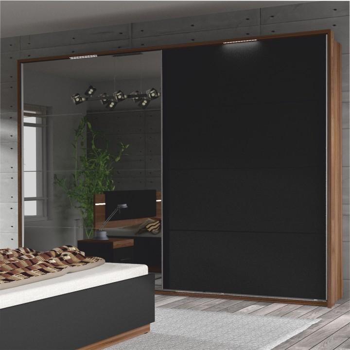 Tolóajtós szekrény tükörrel, dió/fekete, DEGAS