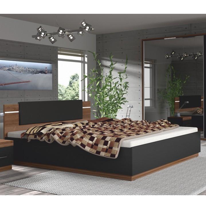 Ágy 180x200 LED világítással, dió/fekete, DEGAS