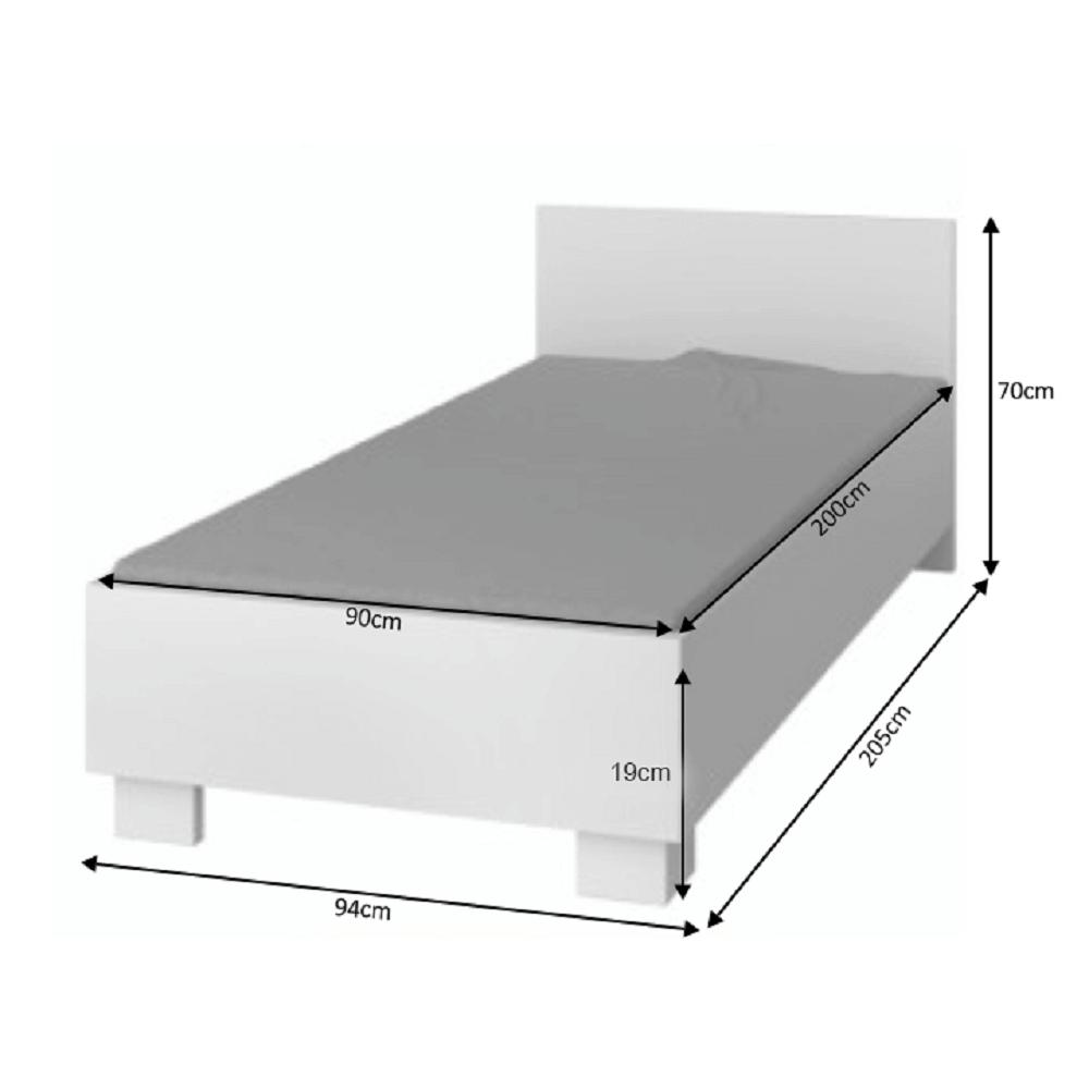 Ágykeret 90/200, DTD laminált + ABS élek, fehér, SVEND