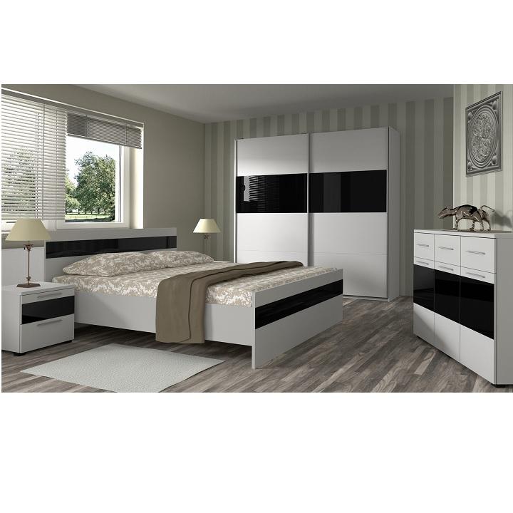 Spálňa, biela/čierne sklo, DEVON NEW