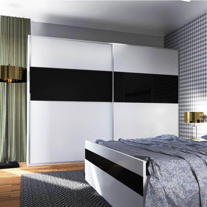 Tolóajtós szekrény,fehér/magasfényű fekete, DEVON NEW