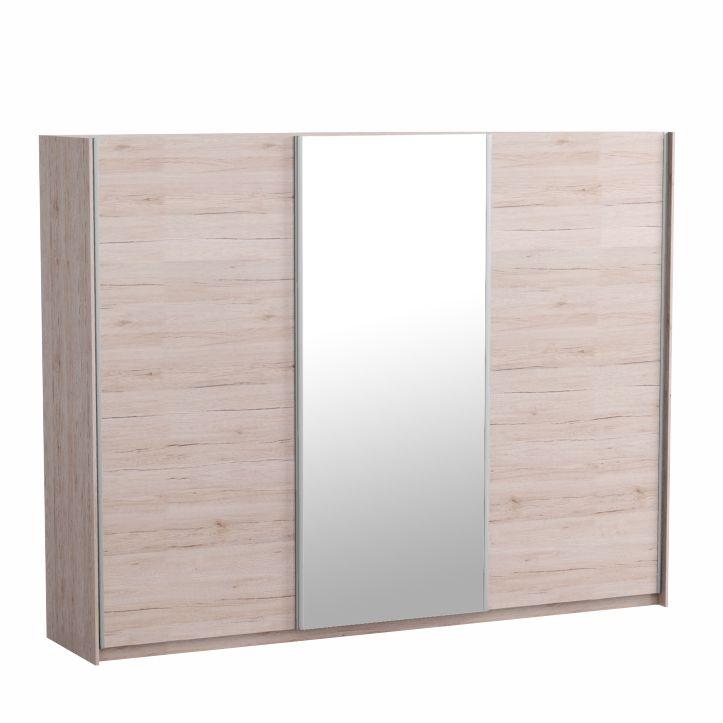Skriňa trojdverová so zrkadlom, dub san remo/biela, MIRAN NEW