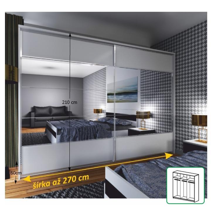 2-ajtós kombinált szekrény tolóajtókkal tükörrel, fehér, NARINA NEW