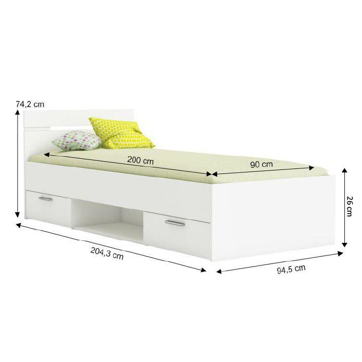 Ágy fiókokkal, 90x200, fehér, MICHIGAN