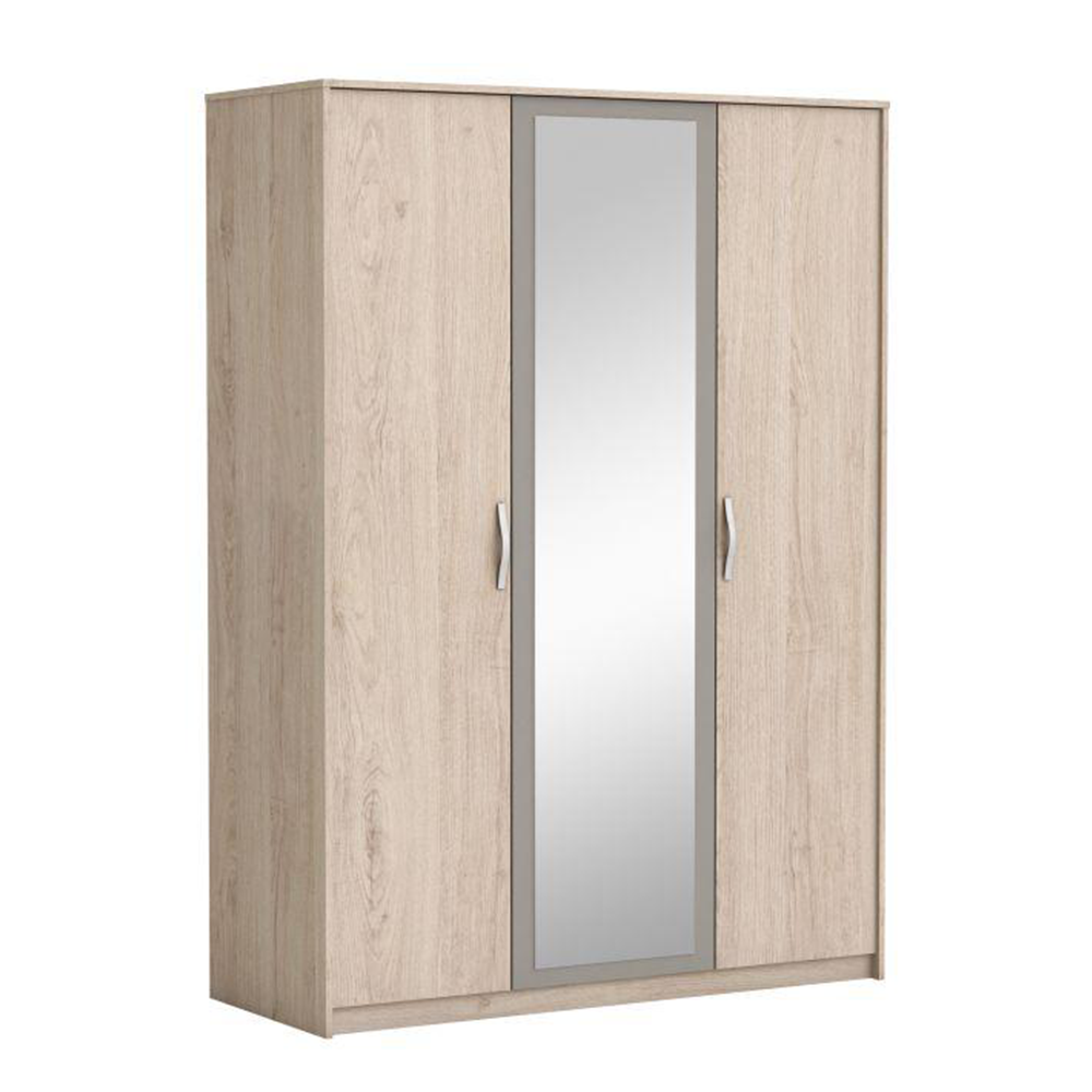 Háromajtós szekrény tükörrel, arizona tölgyfa/szürke, GRAPHIC