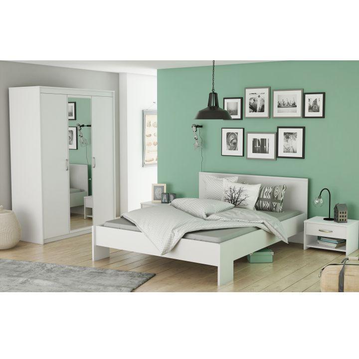 Spálňový komplet (3-dverová skriňa+posteľ+2x nočný stolík), biela , AMBIAN
