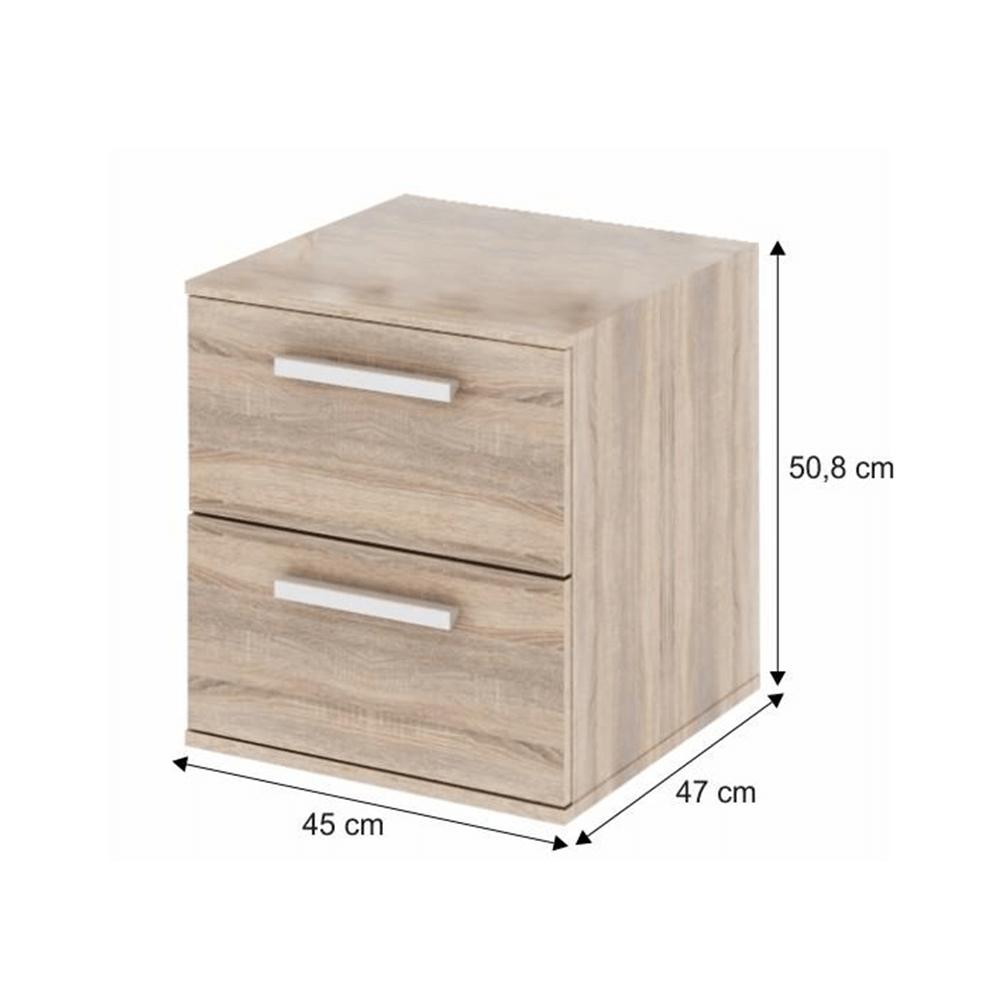 Dulap mic cu 2 sertare îngust, DTD laminat, stejar sonoma, DUNAJ  TIPUL9