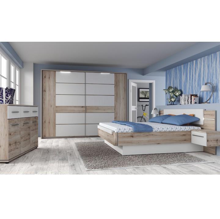 Spálňový komplet (skriňa+posteľ+2x nočný stolík), dub bergamo/biely lesk, CANBERA