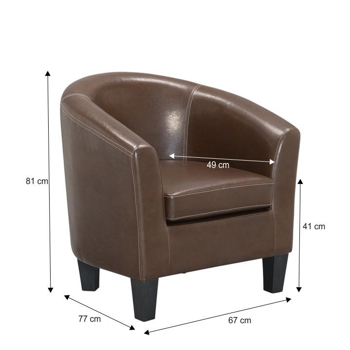 Fotel, műbőr, barna, MARTY