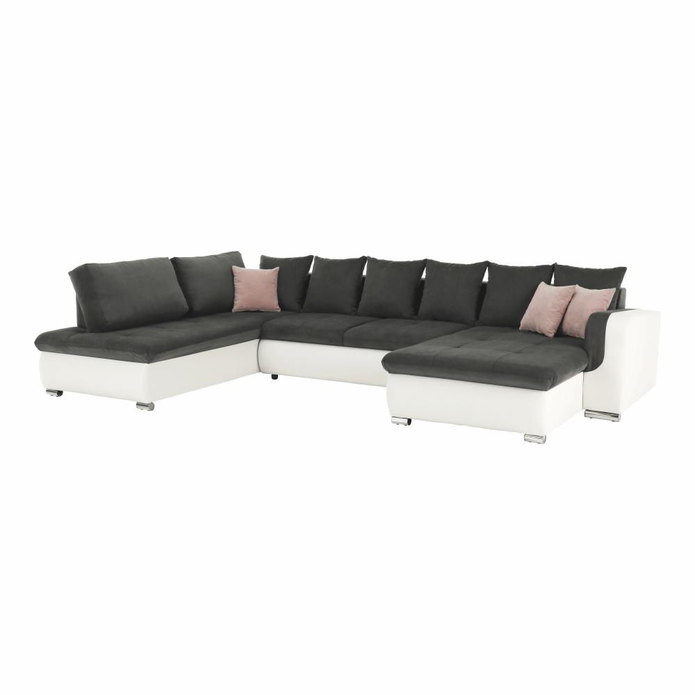 U alakú ülőgarnitúra, textilbőr fehér/szürke szövet/púder rózsaszín párnák, balos, KASTOR