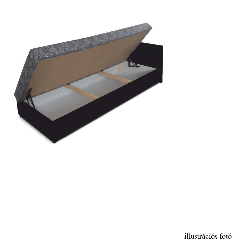 Kanapé ágyneműtartóval, balos, barna textilbőr /mintás szövet, Judit