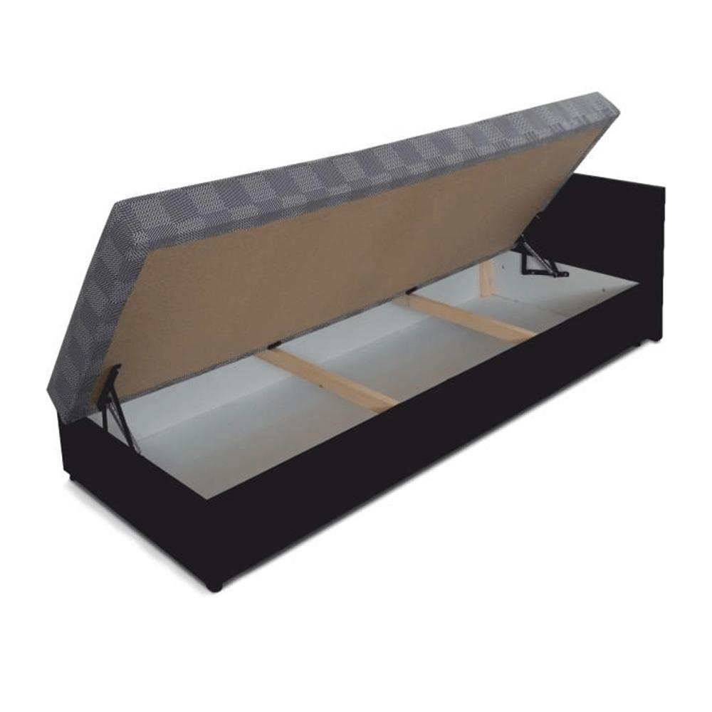 Kanapé ágyneműtartóval, jobbos, fekete /szürke mintás szövet, Judit