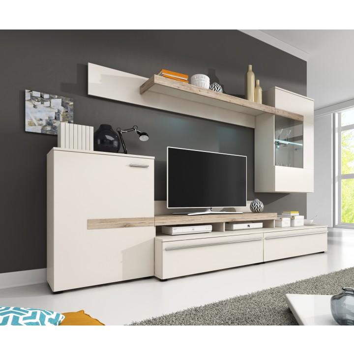 Obývacia stena, biela/dub sonoma, COBRA