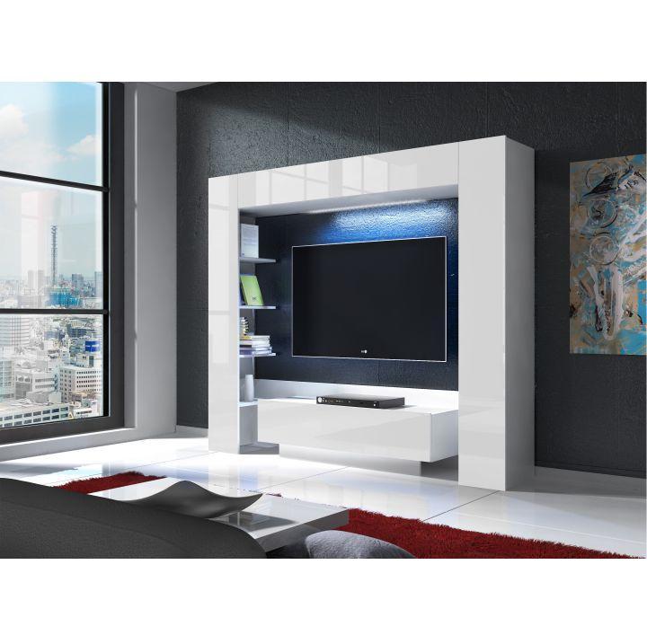 TV és média fal, fehér/fehér extra magas fényű, MONTEREJ