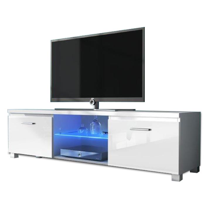 RTV stolík, biela/biely extra vysoký lesk HG, LUGO 2