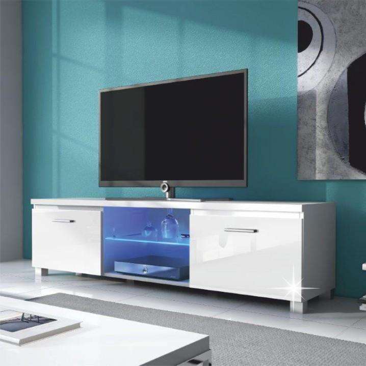 TV asztal,fehér/fehér extra magas fényű HG, LUGO 2