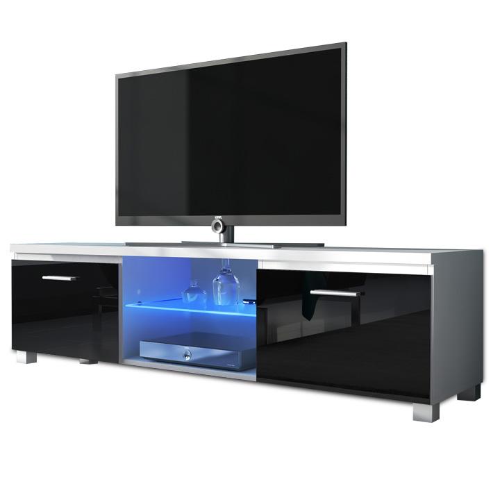 RTV stolík, biela/čierny extra vysoký lesk HG, LUGO 2