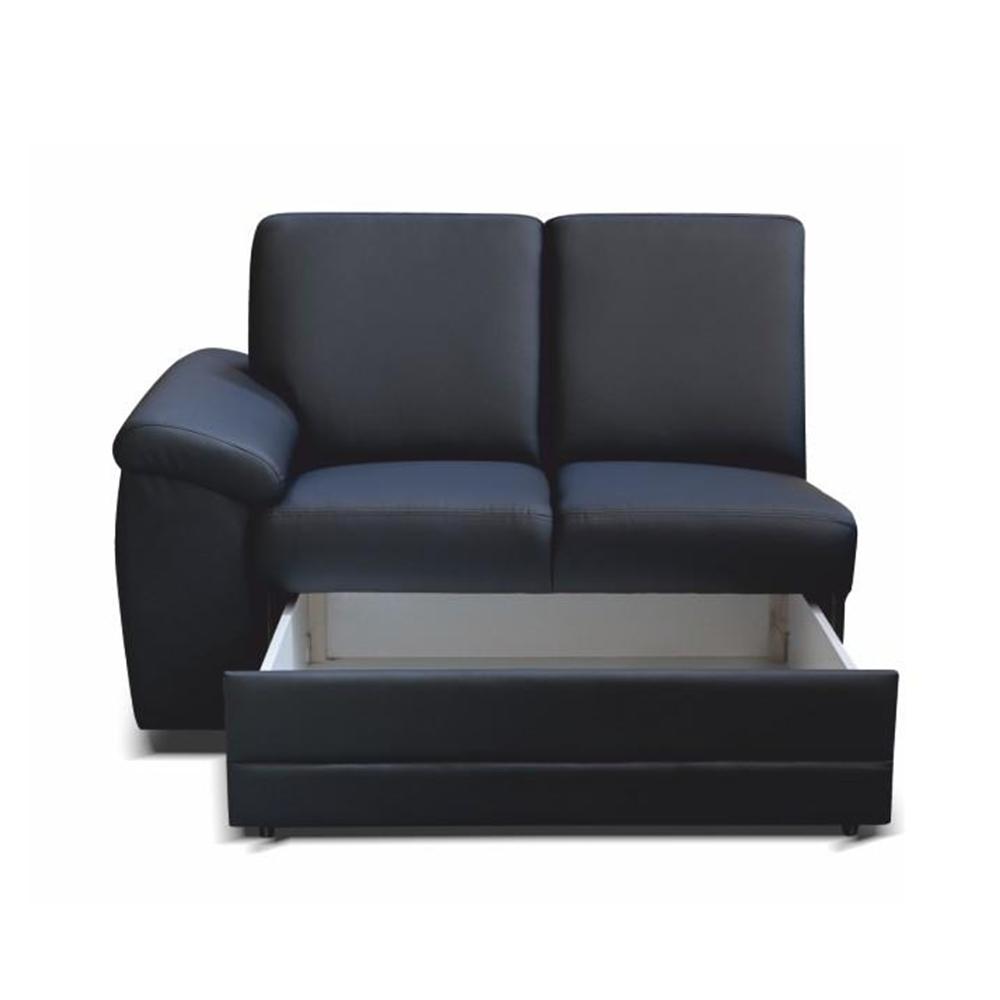 2- személyes kanapé rakodótérrel, textilbőr fekete, balos, BITER 2 1B ZS