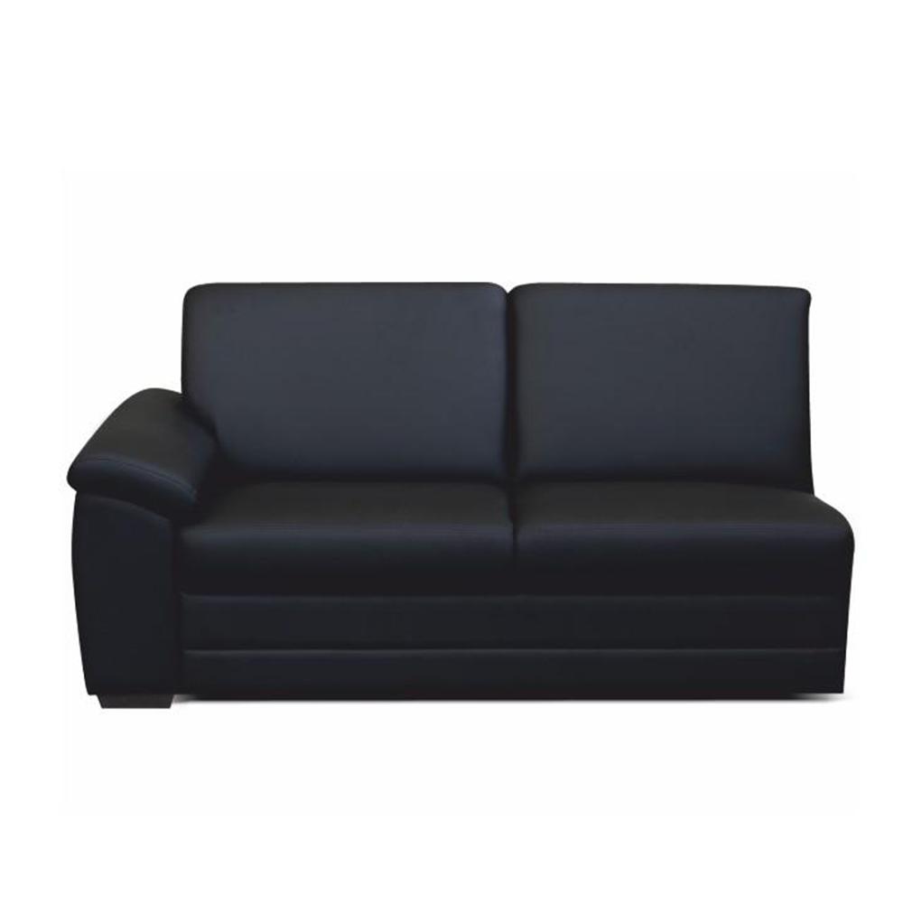 3-személyes kanapé támasztékkal, textilbőr fekete, balos, BITER 3 1B