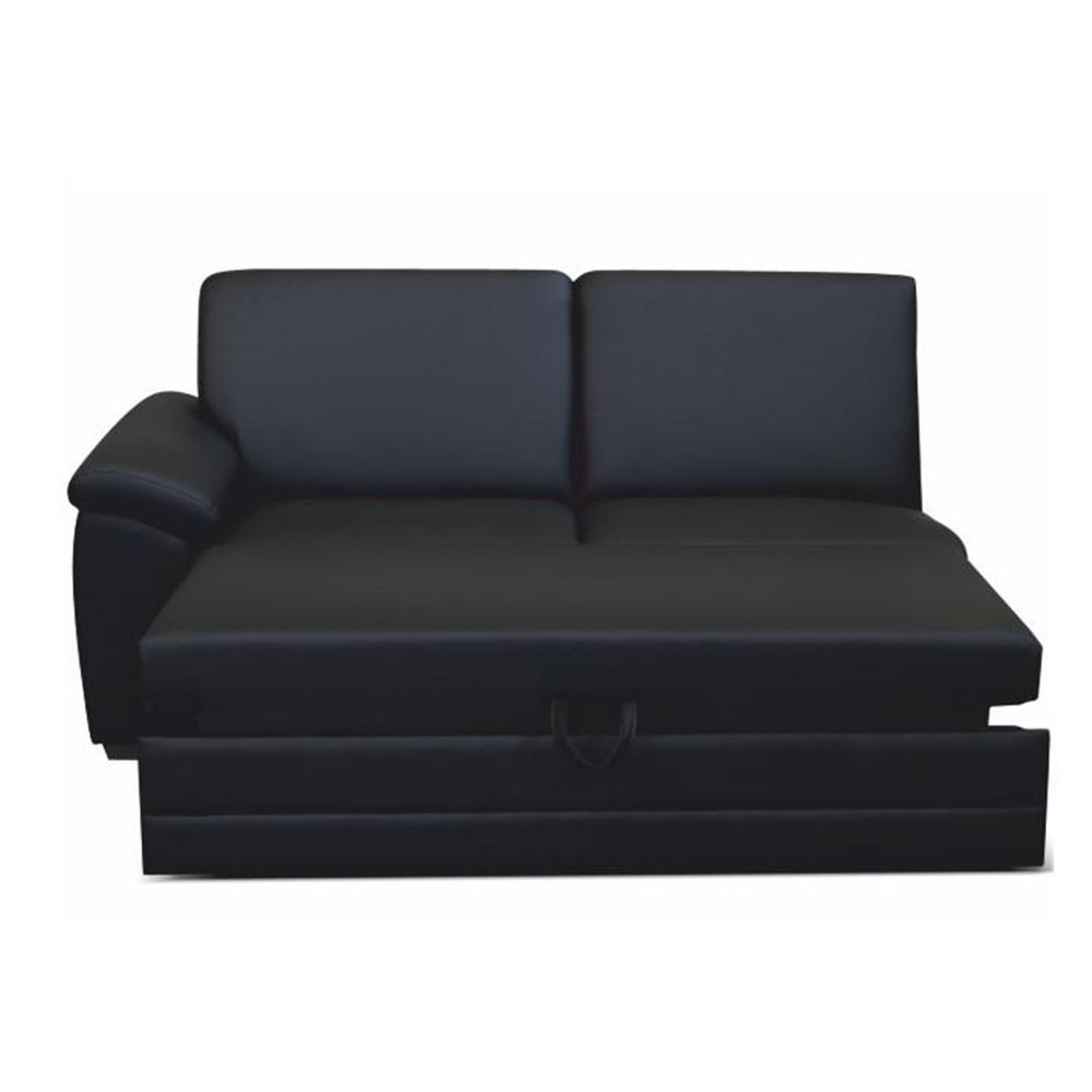 3-személyes kinyitható kanapé támasztékkal, textilbőr fekete, balos, BITER 3 1B ZF
