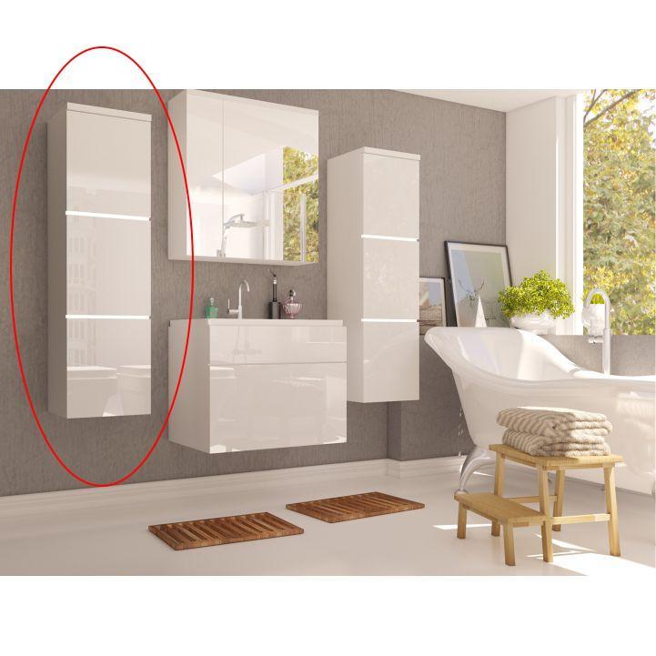 Magas szekrény, fehér/fehér fényű HG, MASON WH 11