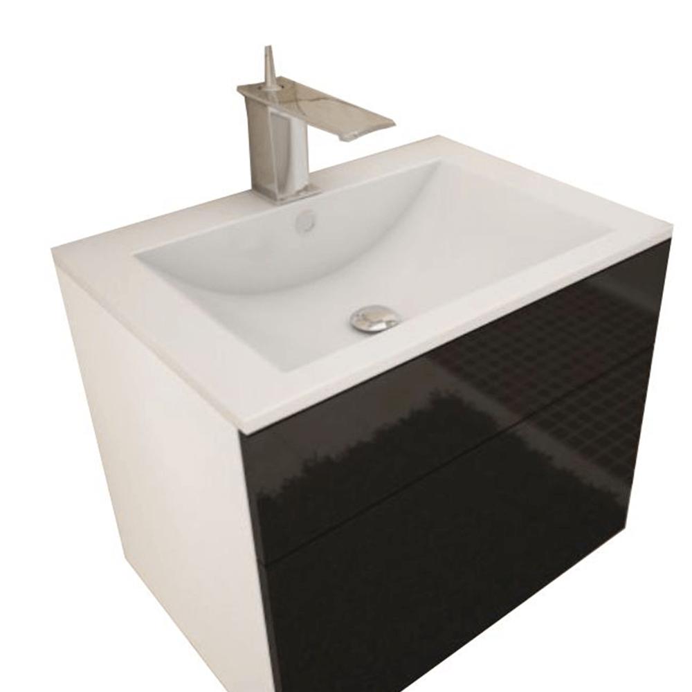 Mosdó alatti szekrény, fehér/fekete extra magas  HG fény, MASON BL13