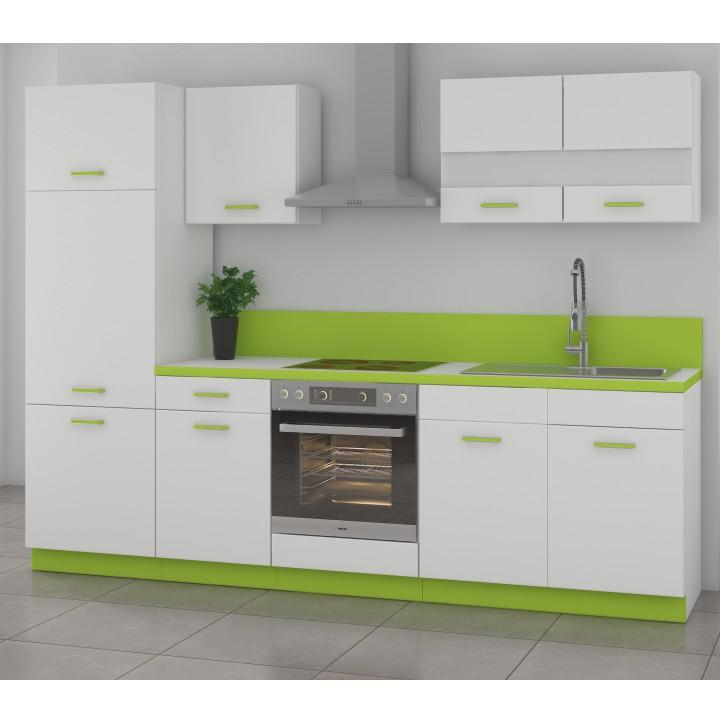 Kuchynská linka, základná zostava, biela/korpus biely + zelená, ALBIA