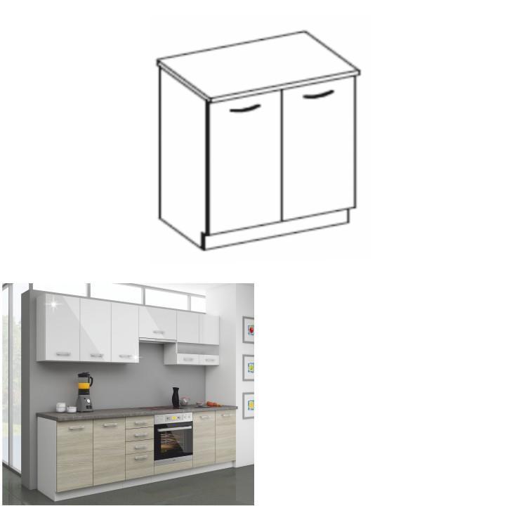 Kuchynská dolná skrinka 80 D 2F ZB, dub late/korpus biely, LEWIS