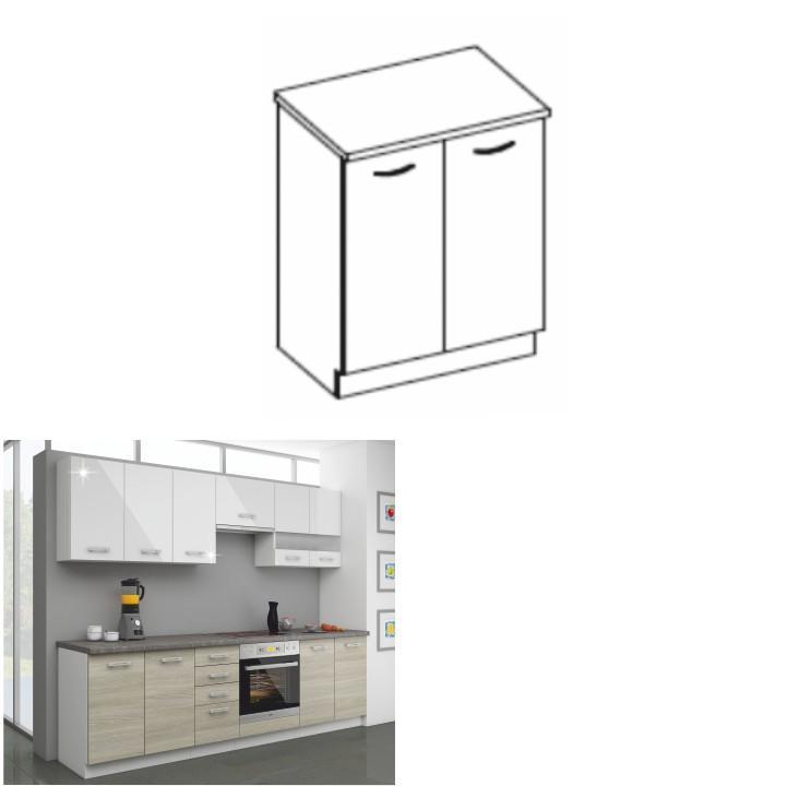 Kuchynská dolná skrinka 60 D 2F ZB, dub late/korpus biely, LEWIS