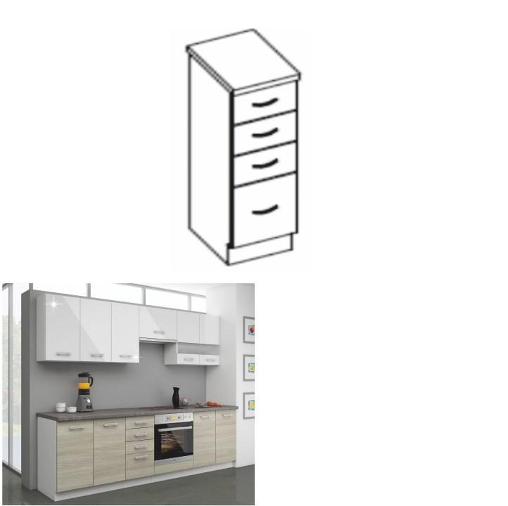Kuchynská dolná skrinka 40 D 4S ZB, dub late/korpus biely, LEWIS