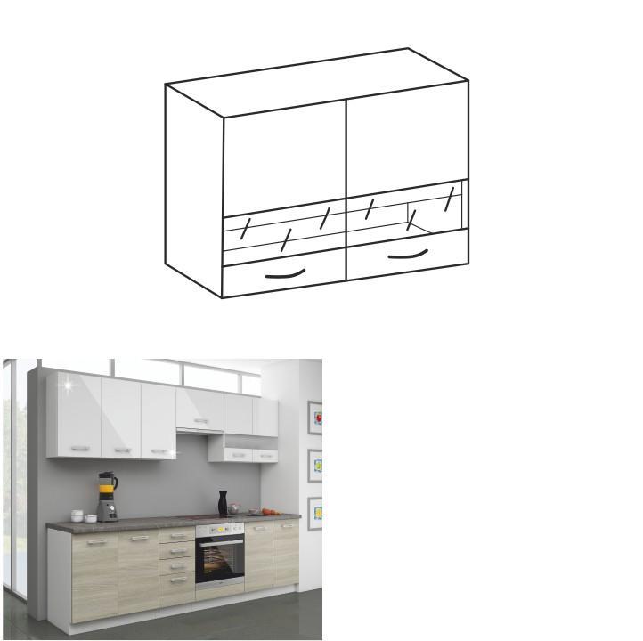Kuchynská skrinka horná 80 GS-72, biely lesk+sklo, LEWIS