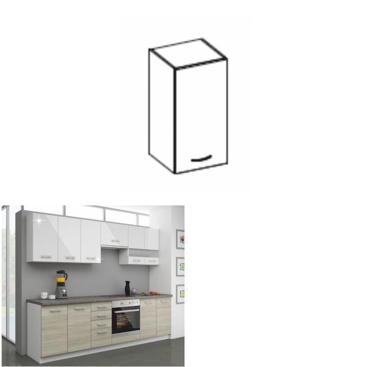 Kuchynská skrinka horná 40 G-72, biely lesk, LEWIS