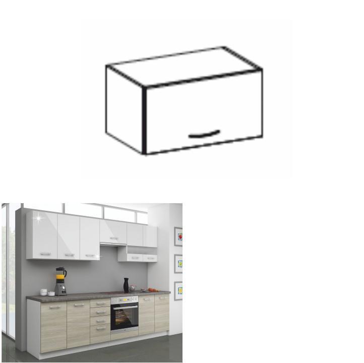 Kuchynská skrinka horná 60 OK-40, biely lesk, LEWIS