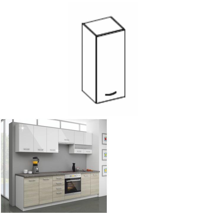 Kuchynská skrinka horná 30 G-72, biely lesk, LEWIS