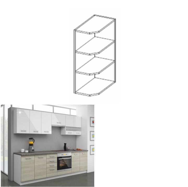 Kuchynská skrinka horná 30 G ZAK-72, biela, LEWIS
