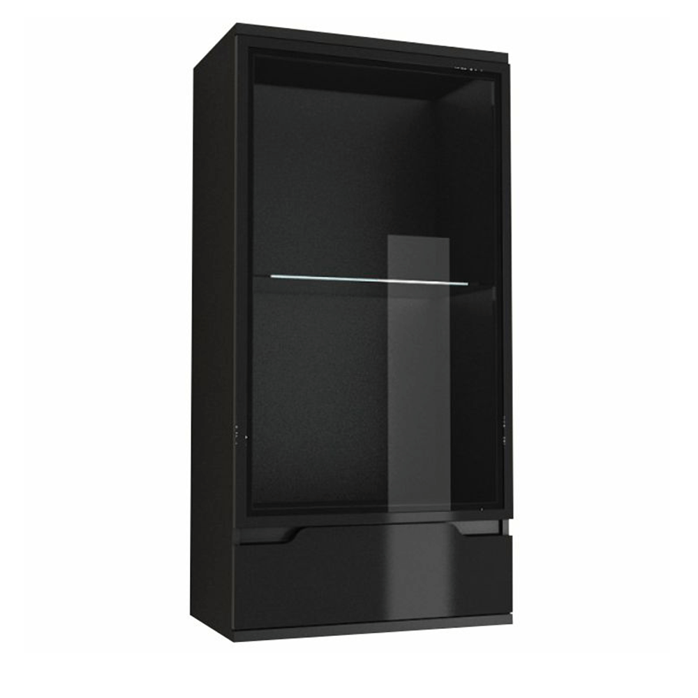Závěsná vitrína, černá / černá s extra vysokým leskem, ADONIS AS 08