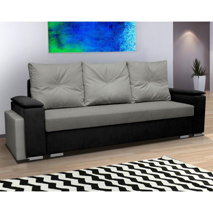 3-sed, rozkladacia, s taburetmi a policou, látka matrix čierna 18/svetlo sivá 15, MINESOTA
