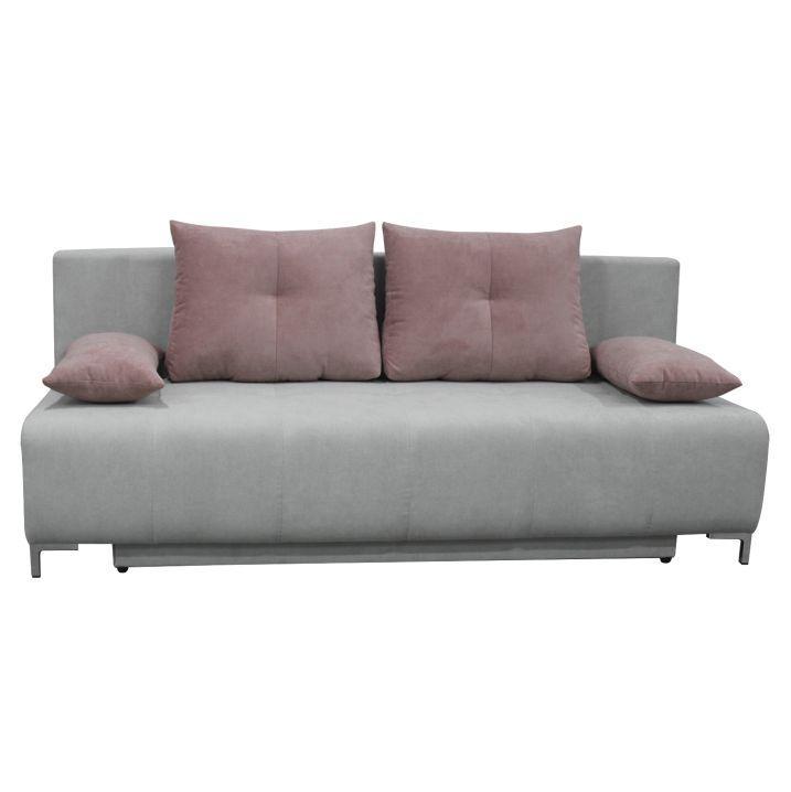 Rozkladacia pohovka s úložným priestorom, sv. sivá/ púdrová ružová, GILET
