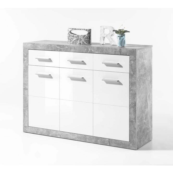 Komoda 3Z + 3D, beton / biela lesk, SLONE 2