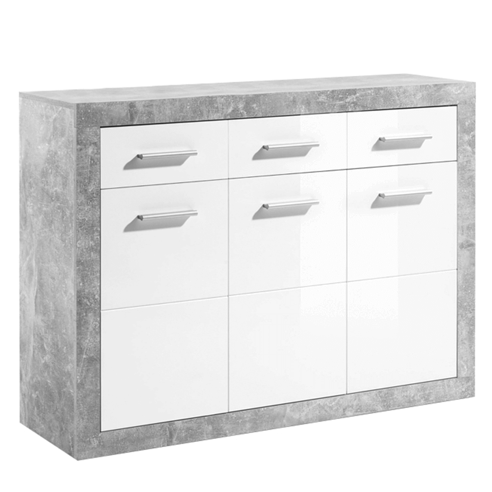 Komód 3Z + 3D, beton / fehér fény, SLONE 2