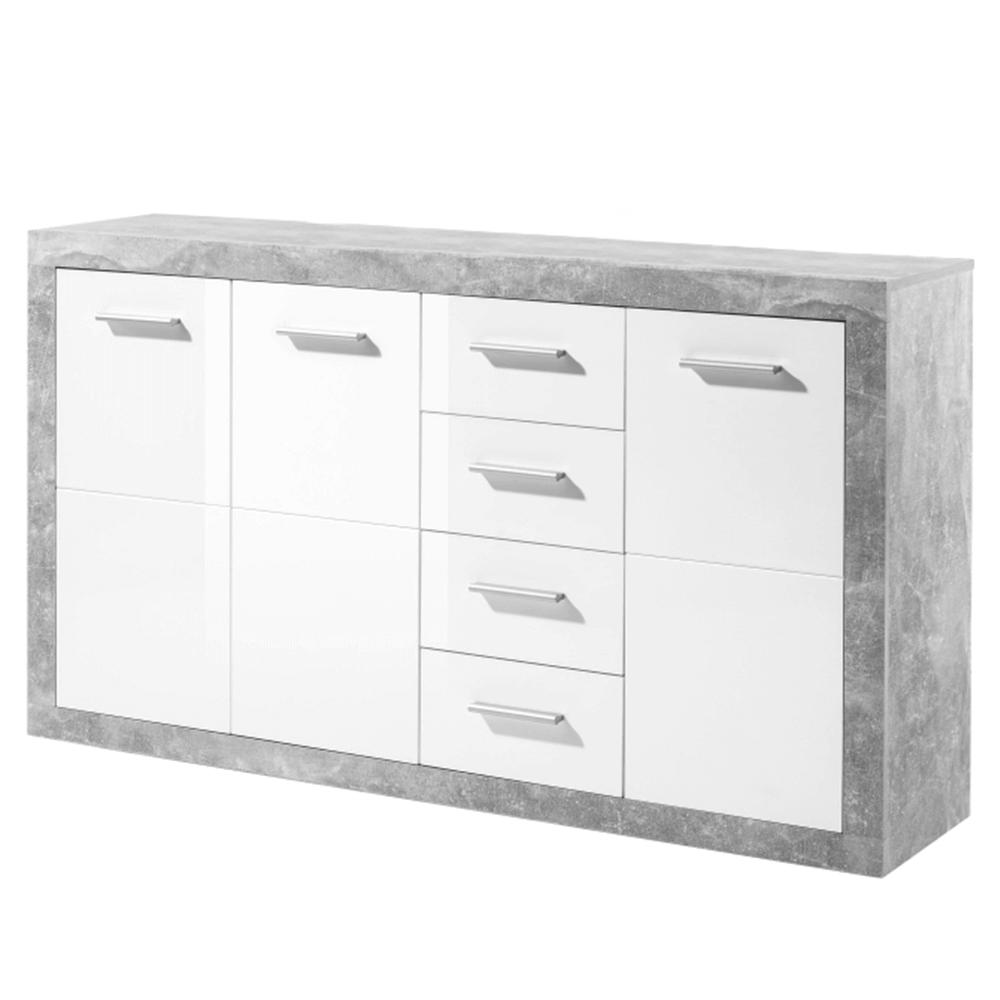 SLONE 3 - Komoda, bílý lesk/šedý beton, TEMPO KONDELA