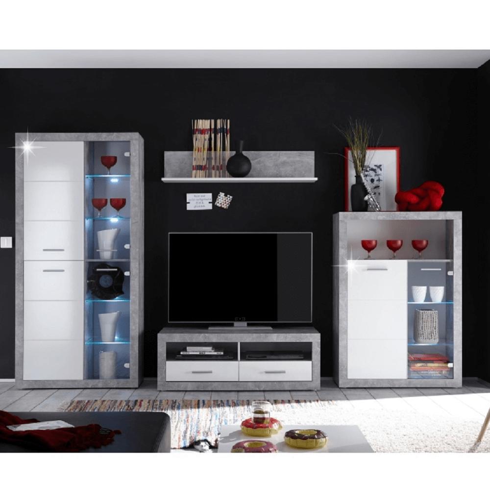 Nappali szekrénysor, beton/fehér fény, SLONE