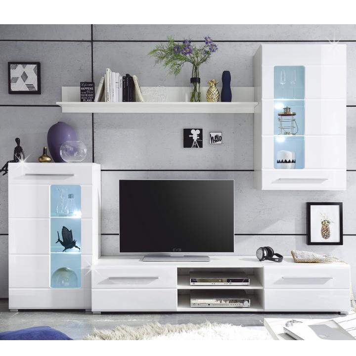 TEMPO KONDELA Obývacia stena, biela extra vysoký lesk high gloss, HENRI