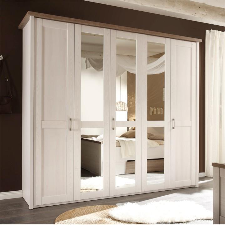 5-dverová skriňa, DTD fóliovaná, pínia biela/dub sonoma truflový, LUMERA
