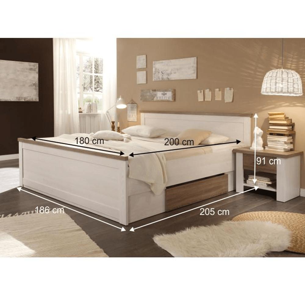 Hálószoba bútor készlet (ágy, 2 éjjeliszekrény, szekrény), pínia fehér/ tölgy sonoma trufla, LUMERA