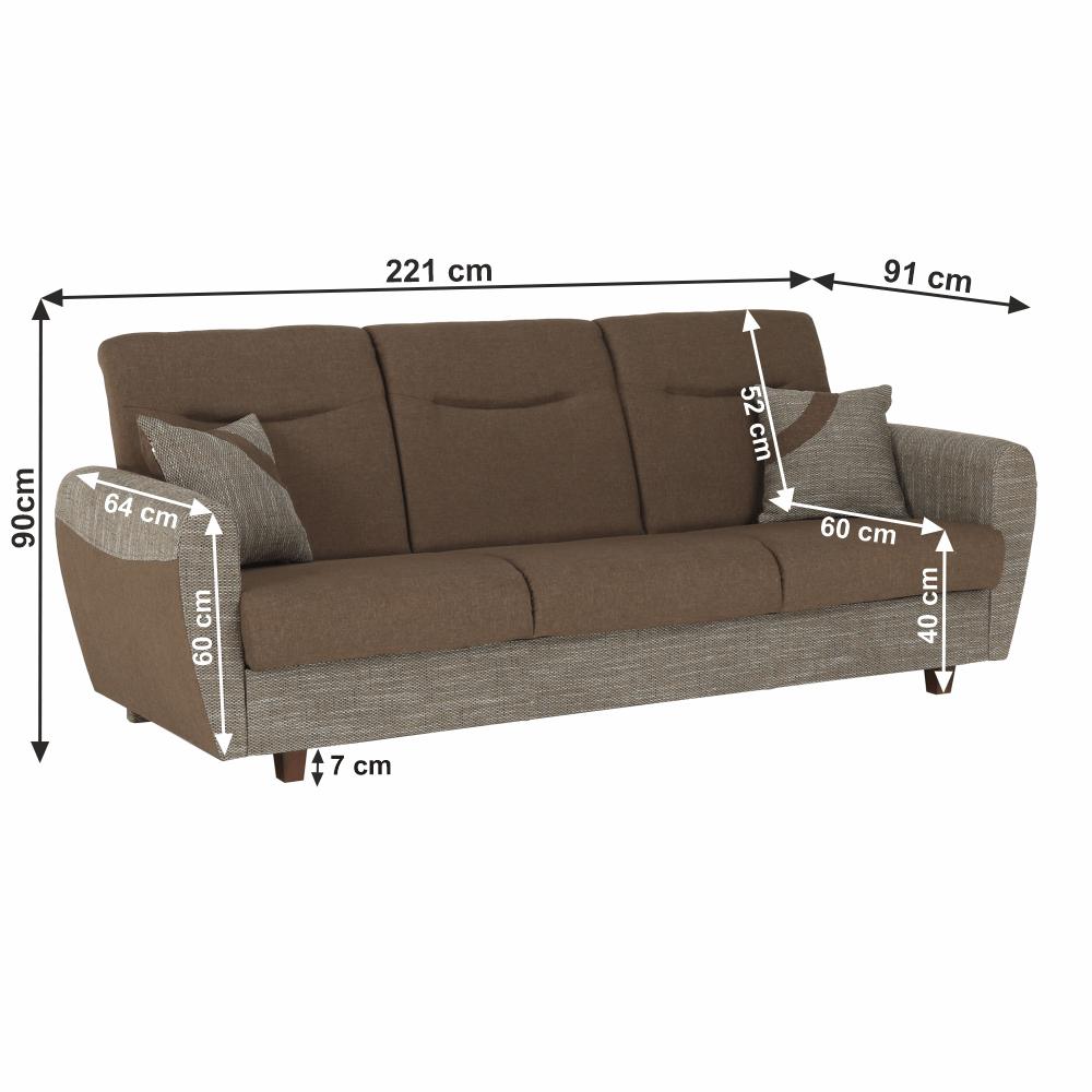 3-ülés ágyfunkcióval, barna, MILO 3-Ülés